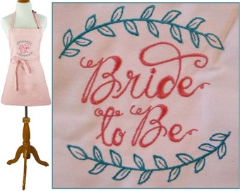 Bride To Be Apron Monogram Custom Embroidered + Free Name Wedding Shower Gift