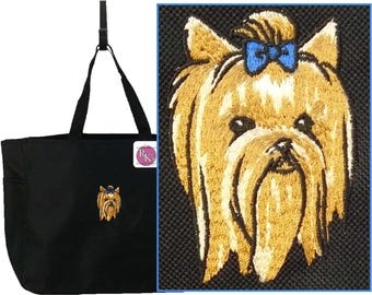 Cute Yorkie Head Essential Tote Bag Yorkshire Terrier Doggy Daycare + Free Name Monogram Custom Embroidered