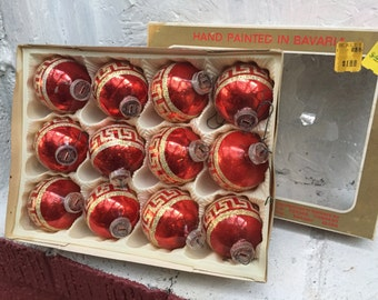 12 Red Glass Christmas Tree Ornaments Decorated with Gold Glitter.  Made in West Germany. Hand Painted in Bavaria In Original Box. VINTAGE