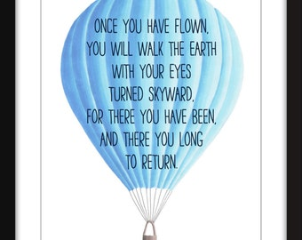 Leonardo Da Vinci Flying Quote 11 x 14/8 x 10/5 x 7    A3/A4/A5 Print Typography Artwork, Perfect for Child's Bedroom