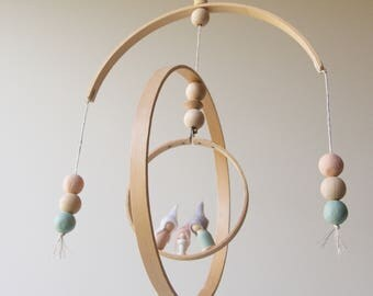 Minimalist Baby Mobile - Wood Hoops & Beads - Waldorf Inspired Family - Blush/Mint
