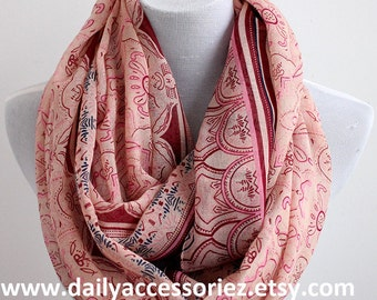 Peach Pink Paisley Scarf, Flower Infinity Scarf, Christmas Gift For Her, For Mom, For Girlfriends, Scarf For Her, Nice Gift