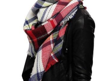 Winter Blanket Scarf, Plaid blanket scarf, Tartan plaid blanket scarf, Tartan scarf, Oversized scarf, Oversized plaid scarf