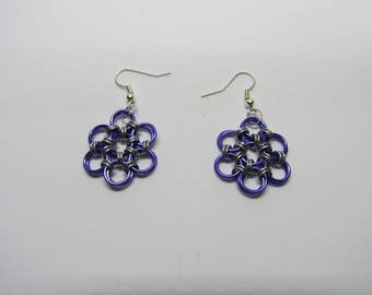 Chainmail Daisy Earrings - Purple