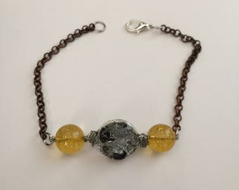 Stardust Brown Chain Bracelet with Amber Beads
