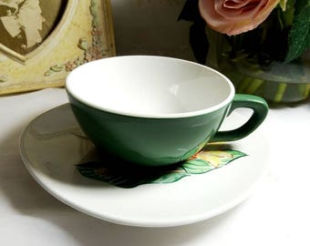 Vintage 1950s, Taylor, Smith & Taylor Daylily pattern  Flat Cups and Saucers, Set of 4