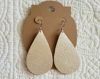 Genuine Leather Teardrop Earrings in Metallic Champagne