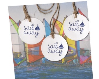 nautical theme Sail Away party favor tags seaside backyard parties summer wedding rehearsal blue sailboat card stock