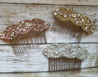 Wedding Hair Comb - Rhinestone with Clear, Rose Gold and/or Gold Details - Style H1703