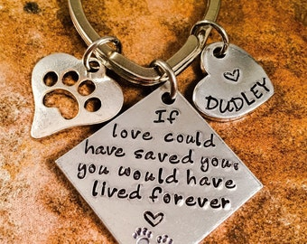 Pet Loss Keychain, Pet Memorial Keychain, If love could have saved you, Grief Jewelry