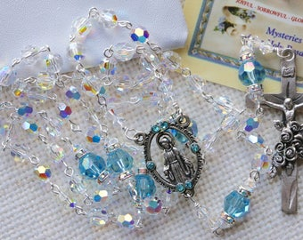 Catholic Swarovski AB Crystal and Aquamarine Rosary