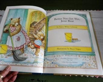 Better Not Get Wet Jesse Bear By Nancy White Carlstrom Vintage Children's Book Hardcover Illustrated By Bruce Degen