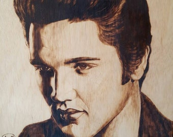THE KING! Original Pyrography on plywood.