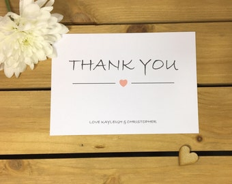 Heart Wedding Thank You Note Card Packs, Thank You Cards
