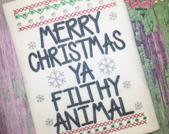Merry Christmas Ya Filthy Animal Embroidered Shirt - Home Alone - Christmas Shirt - Girls Christmas Shirt - Boys Christmas Shirt