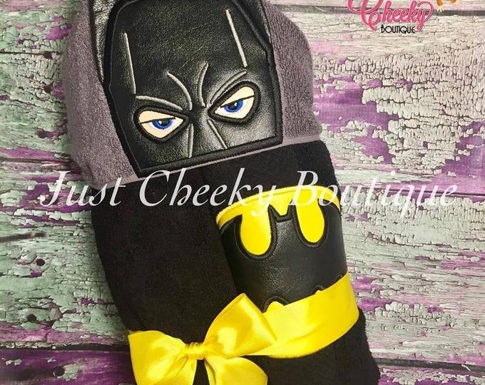 3D Bat Hero Inspired Hooded Towel - Batman - Bruce Wayne - DC Birthday - Superhero Birthday