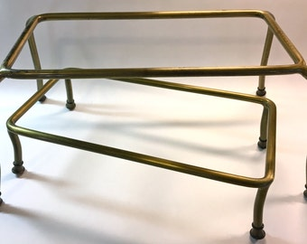 Vintage Brass Buffet Risers Stands Pedestals Food Display Holiday Entertaining/Party/Wedding Set of Two