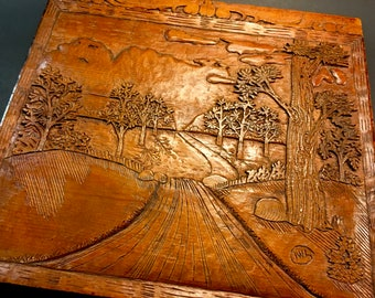 Vintage Collectible Bas Relief Wood Carving 20th Century Folk Art Carved Wood Panel