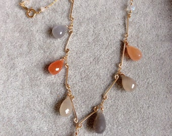 Peach moonstone necklace ,14K gold filled