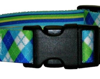Blue and Green Argyle  Standard Collar