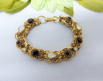 Vintage Florenza Bracelet Gold Tone with Opalescent Glass and Ruby Red Rhinestones
