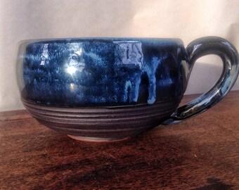 Handmade pottery soup mug
