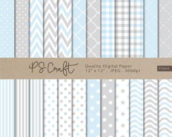 Baby Blue Digital Papers, Baby Shower Digital Paper, Blue Patterns Backgrounds, Soft Baby Blue Grey Shower Invitation