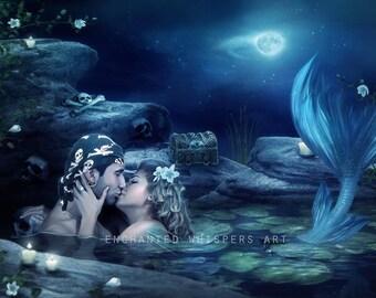 mermaid lovers art print by Enchanted Whispers