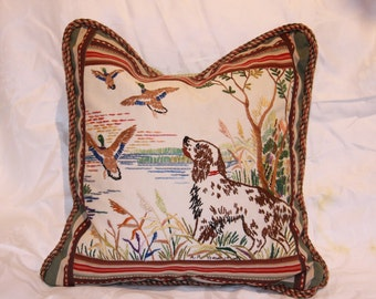 English Setter Pointing Ducks Embroidery