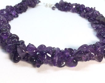 Three Strand Amethyst Necklace Sterling Silver Amethyst Bead Necklace Natural Stone Chunky Multi Strand  Adjustable Length