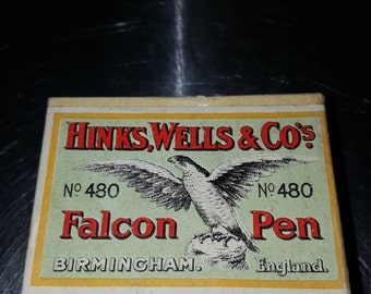 Hinks wells and Co. / no. 480 /one gross / boxed nibs/falcon pen/pen nibs