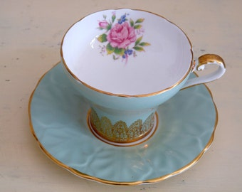 Vintage Aynsley Cup and Saucer Green with Gold Trim and Pink Flowers
