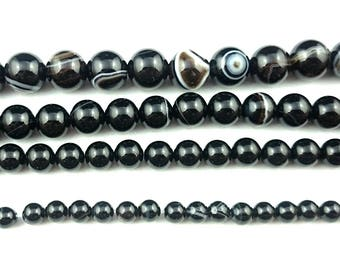 Natural Black Striped Agate Beads, Black Gemstone Beads, Round Loose Stone Beads Wholesale 6mm 8mm 10mm 15'' Strand