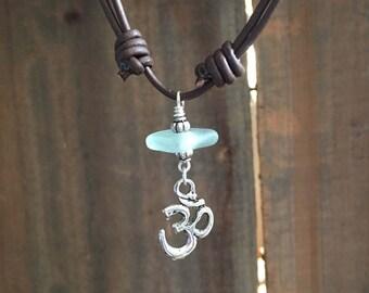 Blue Sea glass and Ohm Necklace, Sea Glass Choker, Yoga Necklace, Beach Glass Necklace, Sea Glass Necklace, Ohm Symbol Choker