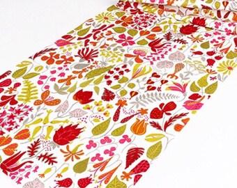 Scandinavian vintage fabric, swedish fabric, floral design. Stig Lindberg Herbarium. 50s Mid century modern fabric, Retro fabric, orange