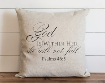 God Is Within Her 20 x 20 Pillow Cover // Everyday // Psalm // Throw Pillow // Gift // Accent // Cushion Cover