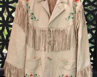 EPIC 40s to 50s Rhinestoned Fringed Embroidered Leather jacket XXL