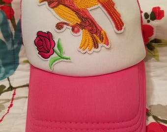 Pink Trucker Hat with Bird and Flowers