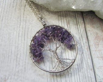 Amethyst Gemstone Tree Of Life Pendant Necklace, Silver Plated