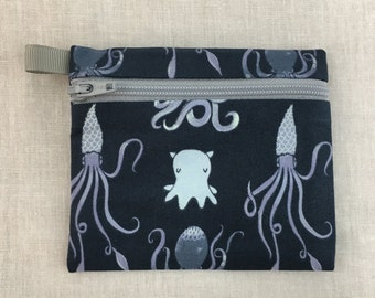 Squid and Octopus Zipper Coin Purse, Credit Card Wallet, Earbud Pouch, iPod case