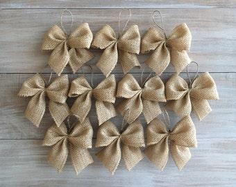 Burlap Bows. Burlap Christmas Tree Ornaments. Burlap Bow Decoration.