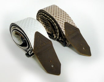 "Imagencilla Sandy Diamonds / Winter Diamonds Guitar Strap Textured Vinyl Ribbon Belt width 2-1/4"" 57mm"