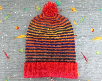 Knit Slouchy Noro Hat - Red Sunset Stripes