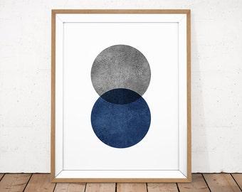 Navy Printable Art, Navy Blue Print, Blue Grey Wall Art, Minimalist Art, Modern Abstract Printable, Watercolor Print, Scandinavian Poster