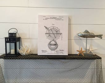 NAUTICAL INSTRUMENT Patent Drawing Hand-Stretched Canvas Print Home Decor 15x20