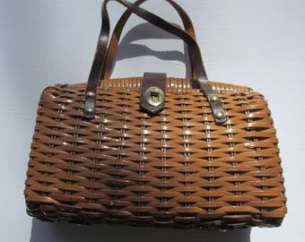 Vintage Made In Crown Colony Of Hong Kong Woven Handbag Purse Vinyl and Leather Bag