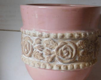 Sale - Vintage Pink Urn with Cabbage Roses