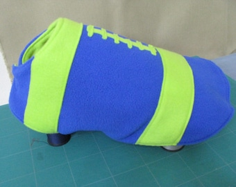 Fleece Football Dog Coat. Lime Green and Blue.