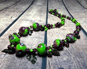 Lampwork Necklace Murano beads Lampwork glass beads handmade Lampwork Jewelry Lampwork beads Beads purple green turquoise pink.
