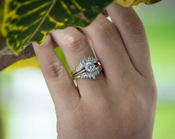 Chevron Anniversary Ring Guard - Sterling Silver Ring Enhancer with .70ct White Cubic Zirconia